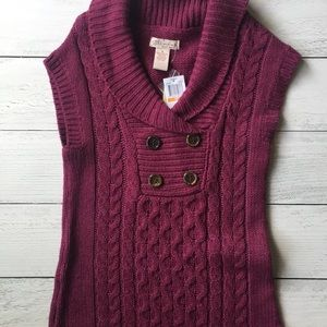 Dark purple sweater dress with brown buttons